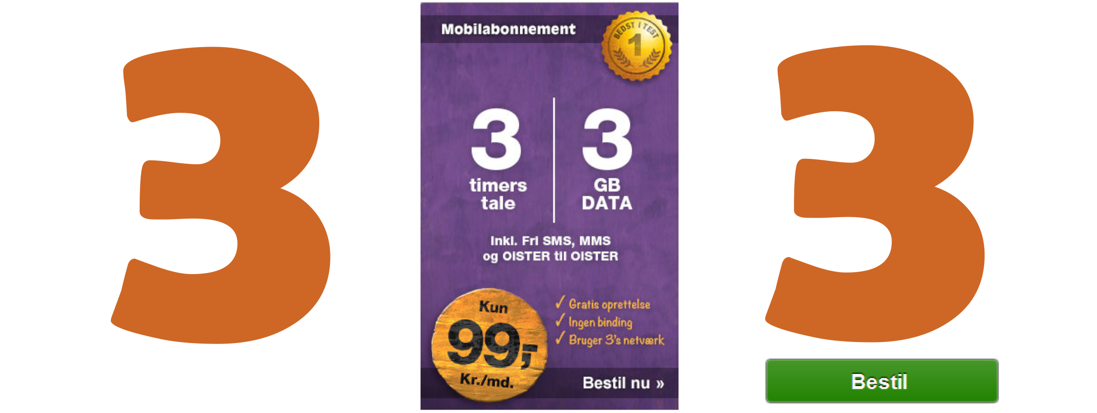 Oister 3 timer og 3 GB data  99 kr.